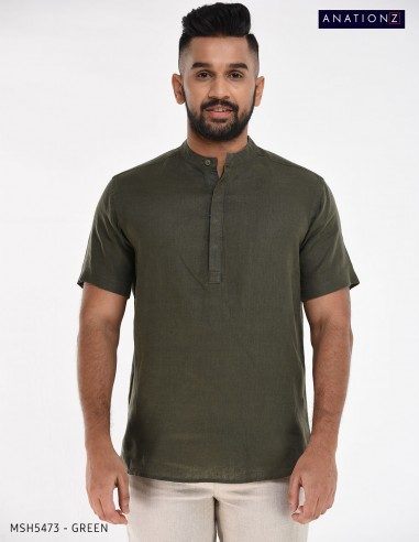 MSH5473 - SHORT SLEEVE LINEN KURTA SHIRT
